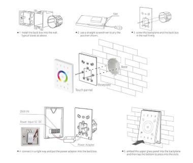 Панель управления LTECH UX8 4 zone, 2.4GHz + DMX512 RGBW белый  5V