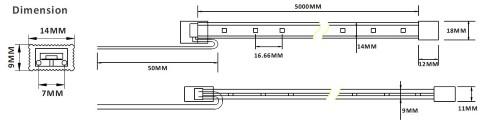 LED nauha PROLUMEN 2835 60LED 1m silikoni letkun TPU 2G 24V  2,88W 220lm  120° IP68 lämmin valkoinen 3000K