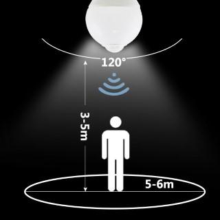 LED polttimo AIGOSTAR A5S A60B detector valkoinen  6W 450lm E27 280° IP20 lämmin valkoinen 3000K