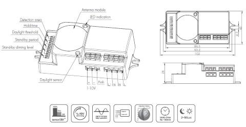 Liikumisandur HYTRONIK RF HC018V 0-10V 230V