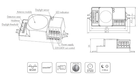 Motion sensor HYTRONIK HC005S 230V IP20