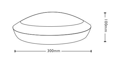 LED Plafoon  300 liikumisanduriga valge  12W 1000lm CRI80  IP66 3000K soe valge