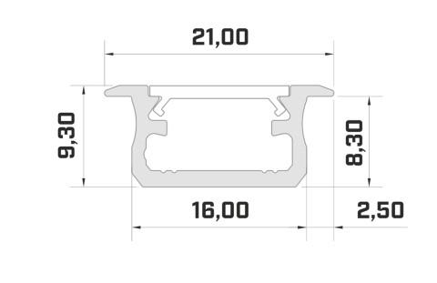 Alumiiniumprofiil LUMINES Type B 2m hõbedane