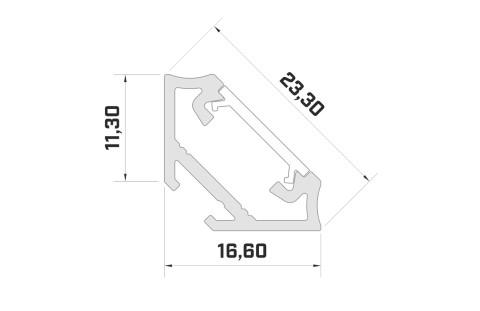 Aluminium profile LUMINES Type C 2m silvery