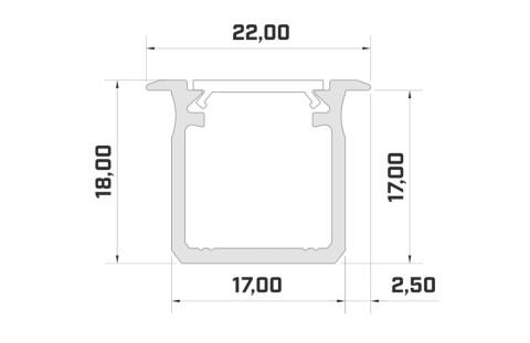 Alumiiniumprofiil LUMINES Type G 2m hõbedane