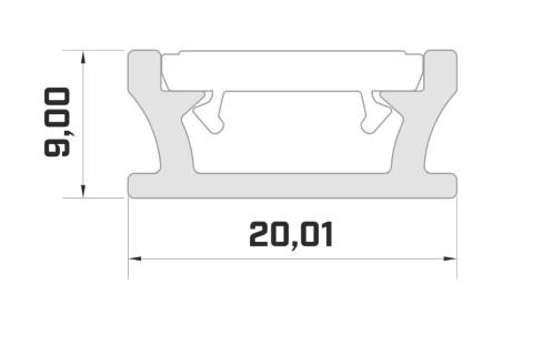 Aluminium profile LUMINES TERRA 2m silvery