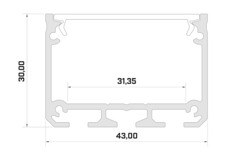 Alumiiniumprofiil LUMINES ILEDO 2m hõbedane
