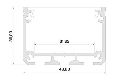 Aluminium profile LUMINES ILEDO 2m silvery
