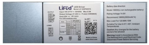 LED power supply unit LIFUD Emergency 120min LF-GSP055YC  40W