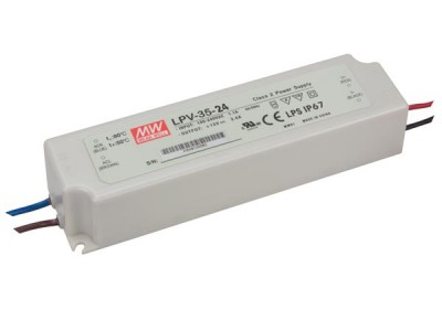 LED muuntaja MEAN WELL 24V DC  LPV-35-24  35W  IP67