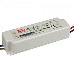 LED power supply unit MEAN WELL 24V DC  LPV-20-24  20W  IP67
