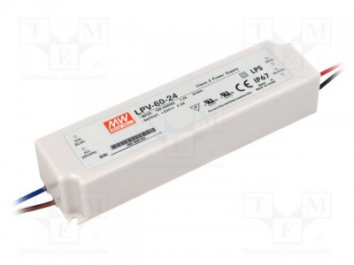 LED блок питания MEAN WELL 24V DC  LPV-60-24  60W  IP67