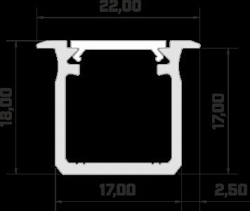 Aluminium profile LUMINES Type G 2m white