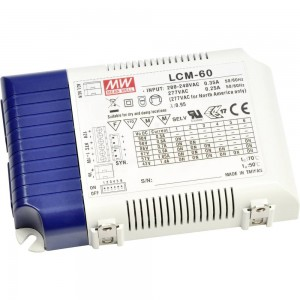 LED driver MEAN WELL 500/600/700/900/1050/1400mA LCM-60DA (DALI / PUSH DIM)  60W  IP20