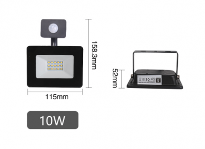 LED floodlight AIGOSTAR With motion sensor black  10W 900lm  120° IP65 pure white 4000K