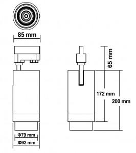 LED светильник на шине PROLUMEN Leon 15-60° ZOOM черный  20W 2000lm  15-60° IP20 теплый белый 3000K