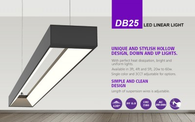 LED ceiling light PROLUMEN DB25 black 230V 40W 3600lm CRI80 120° IP20 3000K, 4000K, 5700K WW/DW/CW