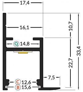 Alumiiniumprofiil FRAME14 BC/Q 2m