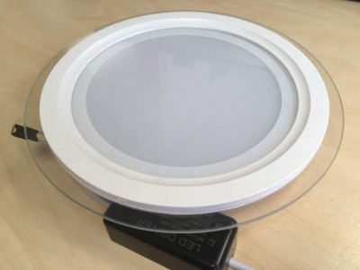 LED downlight LED downlight  GLASS white round 18W CRI70  120° IP20 3000K warm white