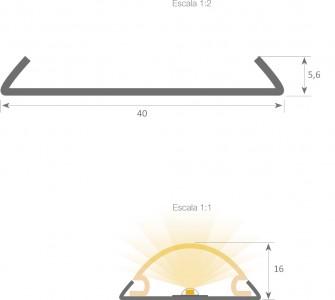 Alumiiniumprofiili kate LUZ NEGRA BERNA, 2m, jääklaas 75%