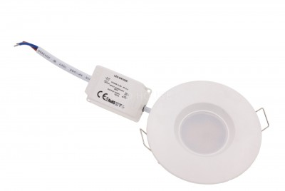 LED downlight  UL white round 6.5W 480lm CRI80  120° IP44 2700K warm white