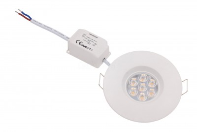 LED downlight  Ul white round 6.5W 560lm CRI80  45° IP44 2700K warm white