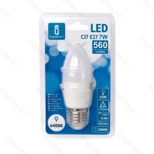 LED Pirn AIGOSTAR A5 C37 230V 7W 560lm CRI80 E27 260° IP20 6400K külm valge