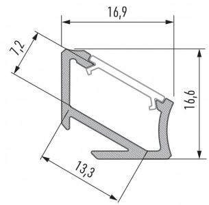 Alumiiniumprofiil LUMINES Type H 2m, must