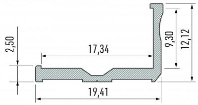 Aluminium profile LUMINES Type E 2m silvery