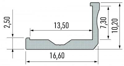 Alumiiniumprofiil LUMINES Type F 2m hõbedane