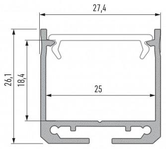 Alumiiniumprofiil LUMINES DILEDA 2m hõbedane