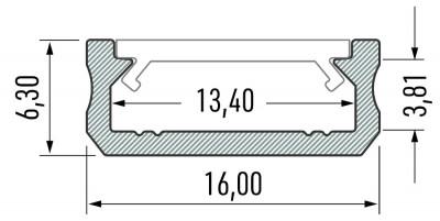Alumiiniumprofiil LUMINES Type D 2m hõbedane