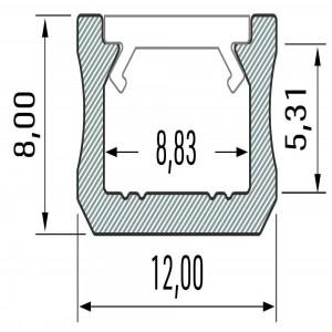 Aluminium profile LUMINES Type X 2m silvery