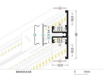 Алюминиевый профиль BACK10 A/UX 2m серебряный
