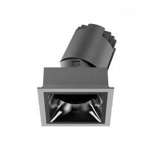LED downlight PROLUMEN Linan (TRIAC) black square 230V 12W 1000lm CRI90 38° IP20 2700K warm white