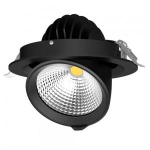 LED-alasvalo PROLUMEN Gimbal COB D165 musta 230V 30W 3000lm CRI90 24° IP20 3000K lämmin valkoinen