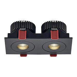 LED-alasvalo PROLUMEN Bon 2x12W musta neliö 230V 24W 1920lm CRI90 38° IP20 3000K lämmin valkoinen