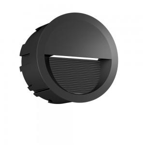 LED wall light PROLUMEN WL60 black round 230V 5W 130lm CRI80 60° IP65 3000K warm white