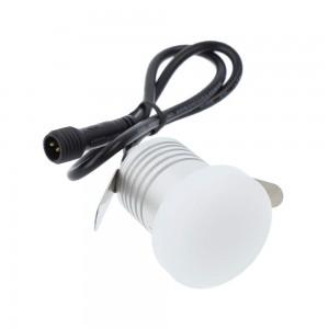 LED Terrassivalgusti REVAL BULB Lille hõbedane ring 12V 1W 95lm CRI80 180° IP67 3000K soe valge