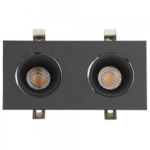 Локальный LED светильник PROLUMEN Nantes 2x12W honeycomb черный квадрат 230V 24W 2160lm CRI90 36° IP20 3000K теплый белый